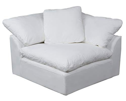 Sunset Trading Cloud Puff Sofa Sectional Modular Arm Chair Performance White Furniture Slipcover,