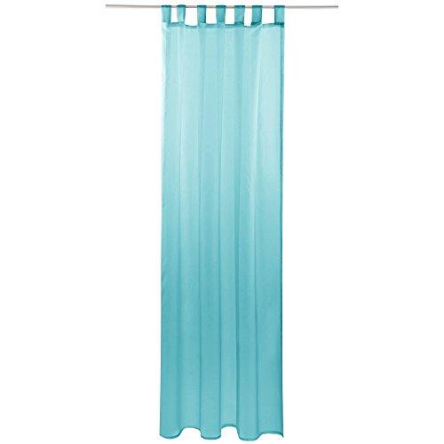 Gardine mit Schlaufen, Transparent Voile 140x145 cm (Breite x Länge) in türkis - Aqua, Schlaufenschal in vielen weiteren Farben und Größen