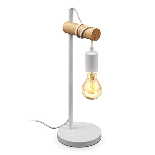 B.K.Licht I Lámpara de mesa I 1 lámpara de mesa de llama vintage I Diseño industrial I lámpara retro I acero I madera I redonda I E27 I sin bombilla