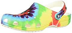 CROCS CLASSIC TIE DYE CLOG: Timeless, fun and full of peaceful good vibes, the bright tie dye Crocs for men and women add the perfect groovy statement to any style GROOVY STYLE: Grounded in comfort and spiked with personality for all ages The women's...