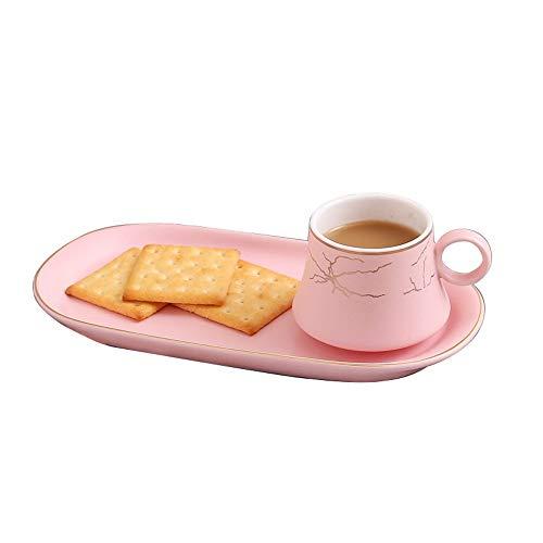 XDYNJYNL - Set di tazze da caffè e piattino, in porcellana, 100 ml, stile europeo, con manico e frullati, per bevande e bevande (colore: Rosa)