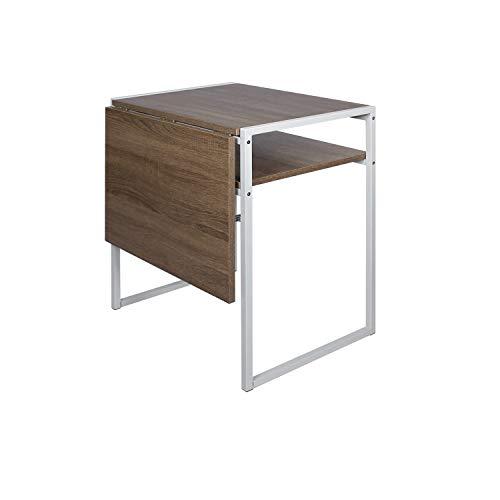 Mesa de comedor plegable, mesa compacta con hojas de gota para espacios pequeños, mesa extensible multifunción, estación de trabajo para computadora portátil (marrón claro)