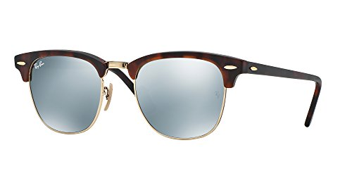 Ray-Ban RayBan Clubmaster Gafas de sol, Marrón (Havana Frame With Gold Rims and Mirror Lenses), 51.0 Unisex Adulto