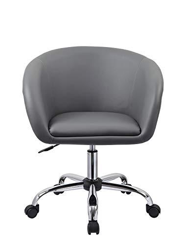 Duhome Drehstuhl mit Rollen Grau Schreibtischstuhl Arbeitshocker aus Kunstleder Hocker Kosmetikhocker 0544