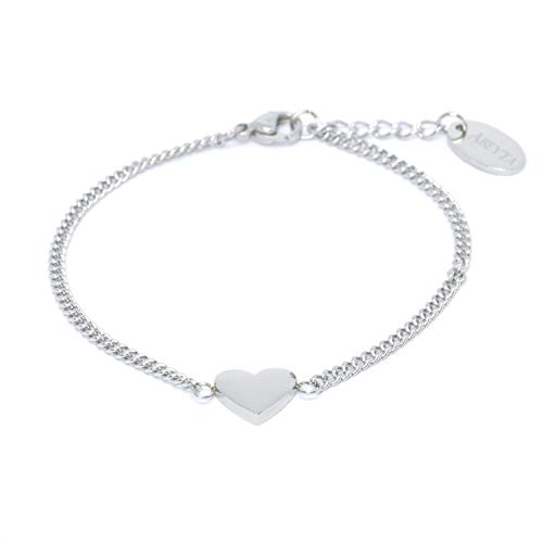 Hart armband in zilver roestvrij staal - roestvrij staal - armband hartjes in grootte verstelbaar 15,5 cm tot 18 cm