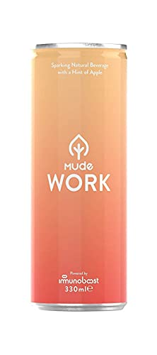 MUDE Work Natural Focus Drink, With a Hint of Apple, Ashwagandha, BCCA, Vegan, & Gluten Free Drink, 330ml (Pack of 12)
