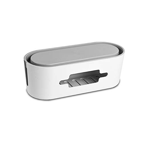 I3C Kabelmanagementbox Steckdosenleiste Abdeckung mit Telefonständer Kabel Organizer Box Organizer Power Cable Management Box für kleine Steckdosenleisten Überspannungsschutz Ladegeräte (Grau)