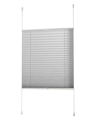 Garduna FIX Plissee | grau - silber 60 x 210cm für Türen | verspannt | Smartfix | Klemmfix | ohne bohren | viele Größen | Sichtschutz | lichtdurchlässig