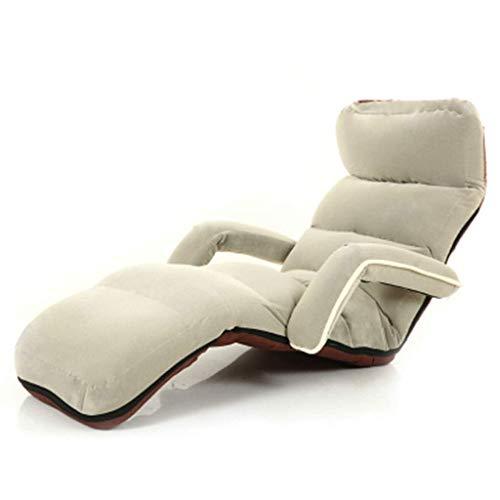 Chair Silla de sofá de Respaldo Grueso Silla de Ventana Multifuncional Sillón Dormitorio Sofá Individual Reclinable Reclinable Ajustable de Varias velocidades Rodamiento 150 kg,Beige