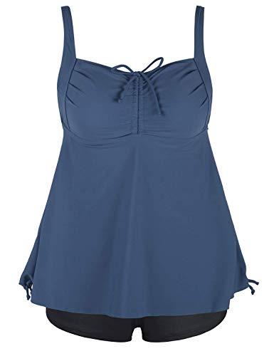 Septangle Women's Plus Size Bathing Suits Paisley Print Two Piece Swimsuit (Gray Blue, US 14)
