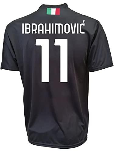 3rsport Camiseta Milan Ibrahimovic 11 negra réplica autorizada para niño (tallas 2 4 6 8 10 12) adulto (S M L XL) (6/7 años)