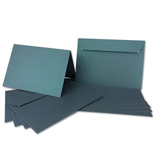 ARTOZ NORDANA 25x DIN A6 Faltkarten-Set mit DIN C6 Umschlägen - petrol glow - 300 g/m² - 10,5 x 14,8 cm - schimmerndes Papier zum Basteln & Drucken