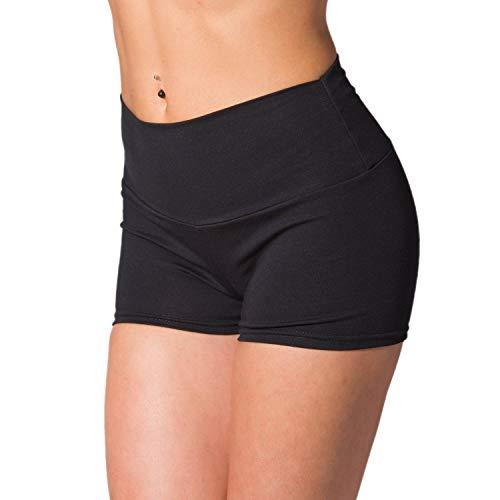 Alkato Damen Sport Shorts mit Hohem Bund Hotpants, Farbe: Schwarz, Größe: 38