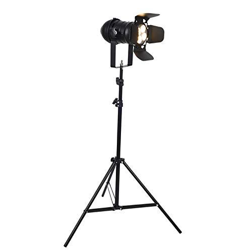 EIU Lámpara LED de pie retro trípode, lámpara de pie con forma de cámara vintage, lámpara de pie, para sala de estar, estudio, lámpara de pie retro, foco negro