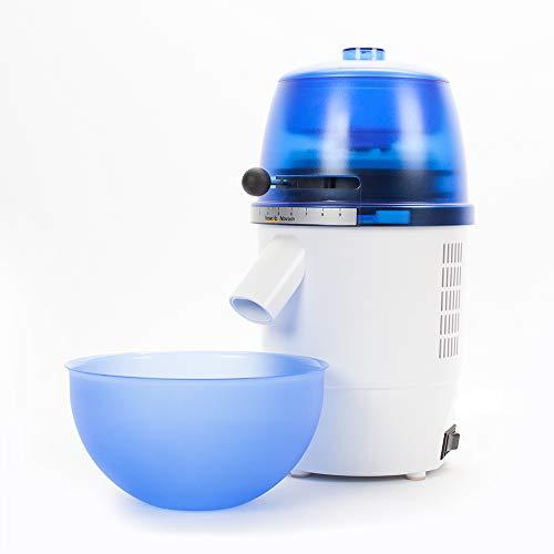 hawos Novum (Farbe: Blau) - Elektrische Getreidemühle mit 360W Leistung in Formschönem Makrolon Kunsstoffgehäuse der Firma hawos Kornmühlen GmbH