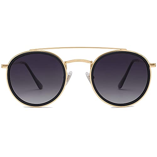 SOJOS Retro Round Polarized Sunglasses UV400 Double Bridge Sun Glasses SUNSET SJ1104, Gold/Grey