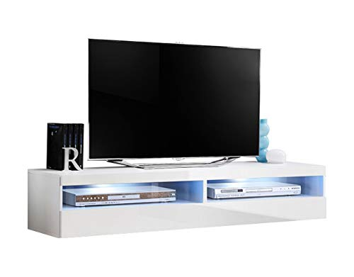"""MEBLE FURNITURE & RUGS Fly Modular Wall Mounted Floating 63"""" TV Stand (Type-35) (White)"""