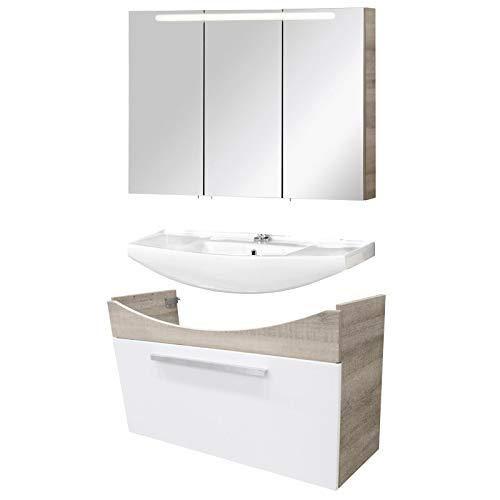 FACKELMANN helles Badmöbel Set A-Vero 3-TLG. 100 cm Eiche Waschtisch Unterschrank & Keramikbecken & Spiegelschrank