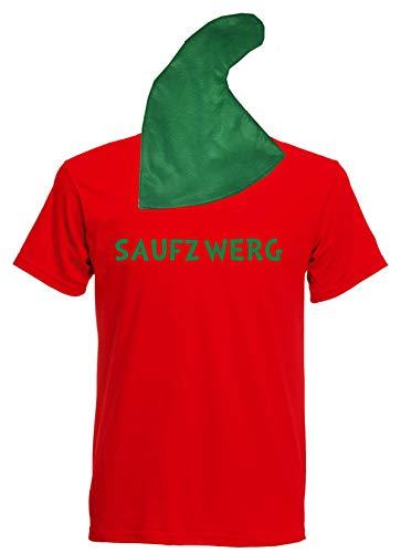 aprom Zwergen T-Shirt Kostüm mit Mütze div. Motive zur Auswahl - Fasching JGA Sheriff Gruppenkostüm Karneval Zwerg (S, Rot - Saufzwerg)