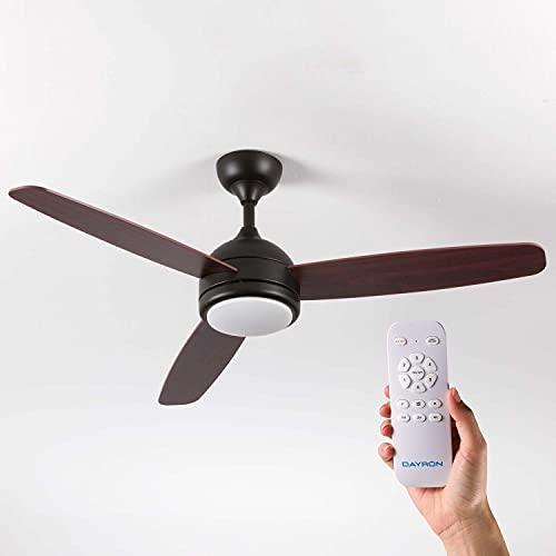 Ventilador de Techo con Luz LED Silencioso con 3 Aspas de Madera 56W de Potencia   Modelo Vermont Negro de Dayron   Ventilador de Techo con Mando a Distancia y 6 Velocidades Controlables