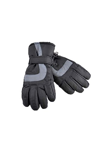Skihandschuhe für Jungen und Mädchen, Thinsulate, 3M, 40 g, Thermoisolierung, wasserdicht, 4 Größen / 2 Farben Gr. 12-13 Jahre , schwarz / grau