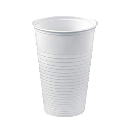TELEVASO - 1000 uds - Vaso de plástico Color Blanco para Agua, de Polipropileno (PP) - Capacidad de 220 ml - Ideal para Bebidas frías como Agua, refresco, zumos