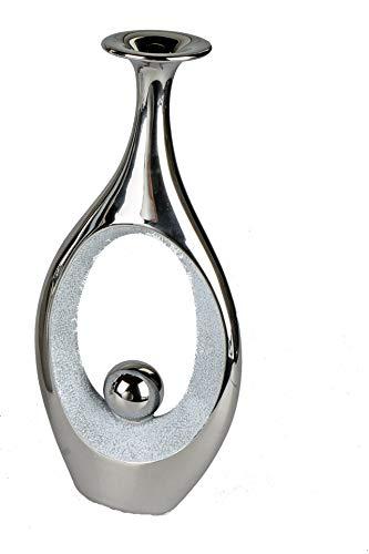 Formano Deko Vase Objekt in Beton Stein-Optik mit Silber (30 x 14 x 6,5 cm)