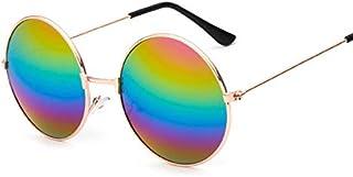 TYJYY - Gafas de sol redondas para mujer y hombre, color rojo, amarillo, azul, transparente, degradado, espejo, unisex, diseño vintage