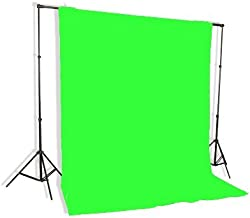 Background Stand Backdrop Support System Kit with 6ft x 9ft Chromakey Green Screen Muslin Backdrop by Fancierstudio 9115+6x9G