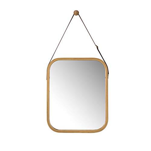 SoBuy BZR03-N Spiegel Wandspiegel Badspiegel Garderobenspiegel Flurspiegel mit verstellbarem Gurt Hängespiegel aus Bambus BHT ca.: 33x41x2cm