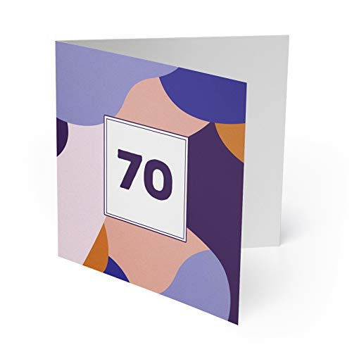 (10 x) Einladungskarten zum 70. Geburtstag Einladungen Karten Klappkarte Edel runder