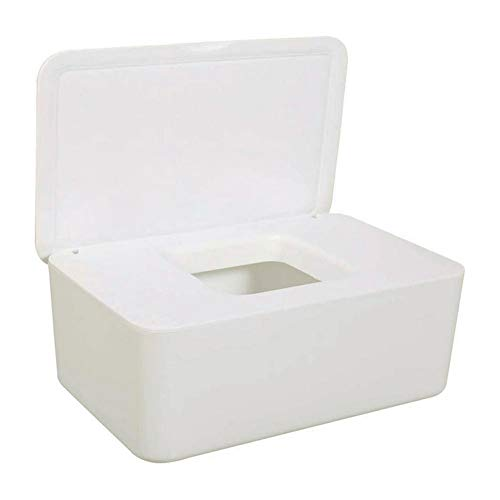 Hainice Caja de Almacenamiento para toallitas secas de Tejido húmedo titulares de servilleta de Papel del dispensador con Tapa para Home Office Blanca