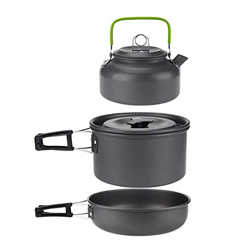 TANGIST 3 Pcs Camping Cookware Mess Kit 2-3 Person Campfire Folding Spork Set Lightweight Cook Pot for Outdoor Camping Backpacking Hiking Picnic Outdoor Cook Gear for Family Hiking Green