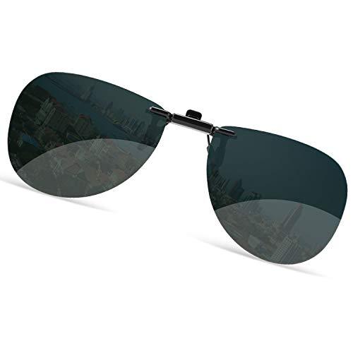 クリップオン 偏光サングラス サングラス めがねの上から クリップ ワンタッチ装着 スモーク メガネに取り付け アビエーター ティアドロップ サングラス パイロット