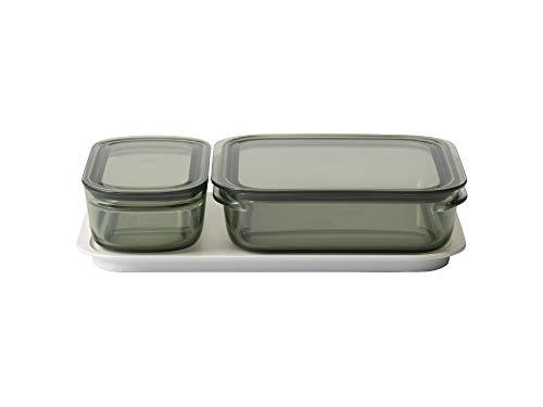 ライクイット (like-it) キッチン収納 調理ができる 保存容器 Mサイズ1個 グリーン + Lサイズ1個 グリーン トレーL ホワイト FC-036 冷凍保存可 食器洗い乾燥機可