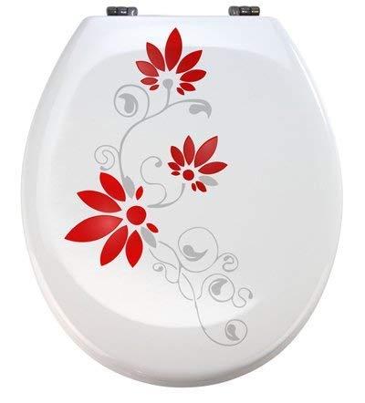Grafix Aufkleber WC Toiletten Deckel St02 für Pressalit Silbergrau/rot Vinyl