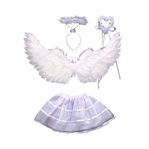 Lote de disfraces de angel wings wand circlet tutu color blanco 2-4 años cosplay
