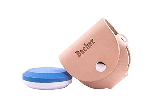 BACHER Premium Piedra Afilar Hacha Redonda, Afilador para Hachas y Cuchillos con Funda de Piel, Piedra de Afilar de Doble Cara (Grano 120/600)