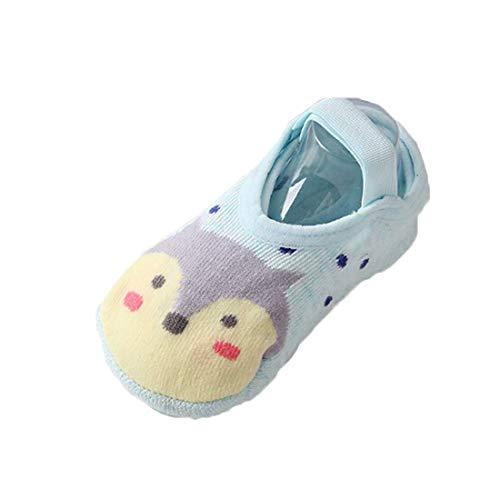 Baby Warm Boat Socks Cute Cartoon Animal Print Comfortable Non Slip Breathable Stockings (Blue, 1-3)