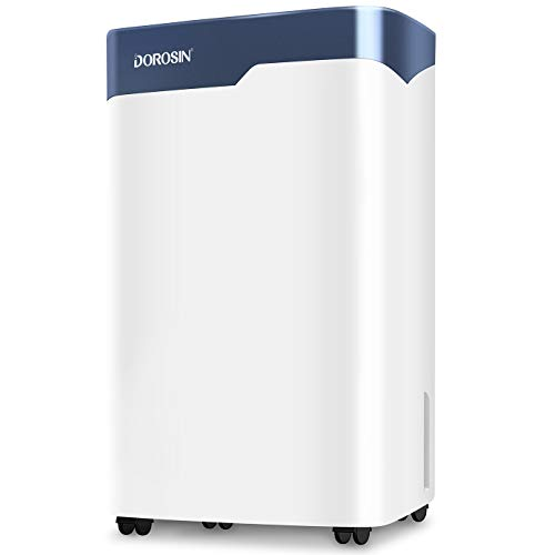 DOROSIN 45 Pint Dehumidifier for Home Basement Bathroom Bedroom Large Room with Continuous Drain Hose and Water Tank, Intelligent Auto Defrost Auto Shutoff