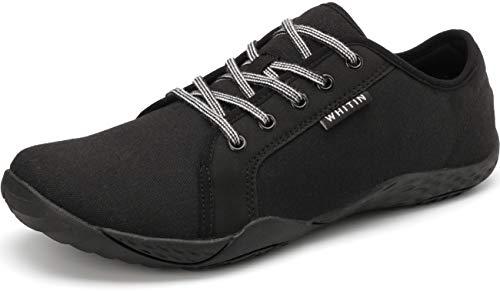 WHITIN Damen Canvas Sneaker Barfussschuhe Traillaufschuh Schuhe Barfußschuhe Trekkingschuhe Minimalschuhe Trail Laufschuhe für Frauen Wanderschuh Fitnessschuhe Indoor Running Schwarz gr 36 EU
