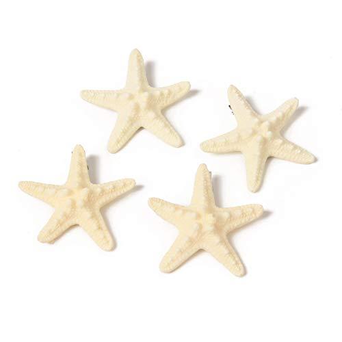 wexpw 4pcs Starfish Hair Clip Resin Sea Star Hair Pins Faux Starfish Beach Hairpin Hair Barrettes Mermaid Accessories for Women Girls Beach Wedding Supplies, 6cm