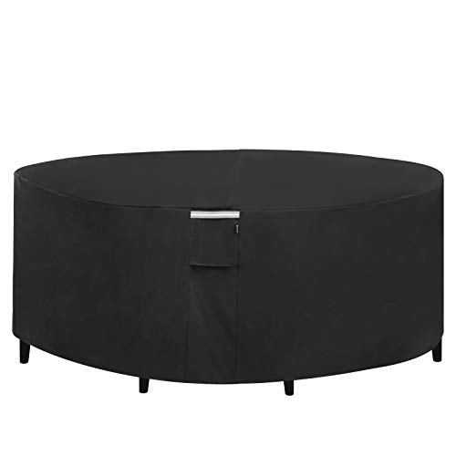 SONGMICS Outdoor Round Patio Table and Chairs Cover, 600D Heavy Duty Outdoor Lawn Patio Furniture Covers, Waterproof and Anti-Fade 72 x 24 Inches, Black UGTC72BK