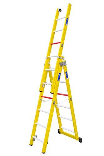 Escalera transformable de tres tramos de fibra de vidrio. Permite su uso en tijera con un tramo extensible y totalmente desplegada. Según norma UNE-EN 131. (3 tramos x 6 peldaños)