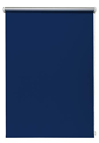 Thermo-rolgordijn blauw 110x150 cm zonder boren verduisteringsrolgordijn zijtrekrolgordijn klemrolgordijn blackout zilveren coating