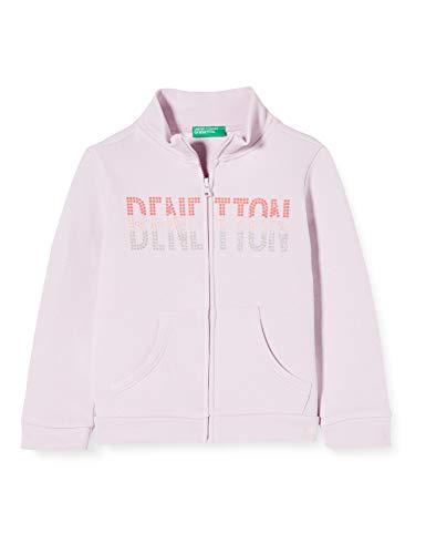 United Colors of Benetton Mädchen Felpa Zip Strickjacke, Pink (Winsome Orchid 07m), 146 (Herstellergröße: X-Large)