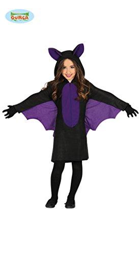 Guirca Fledermaus Kostüm mit Flügeln für Mädchen Kinder Halloween swarz lila Kleid Gr. 98-146, Größe:110/116