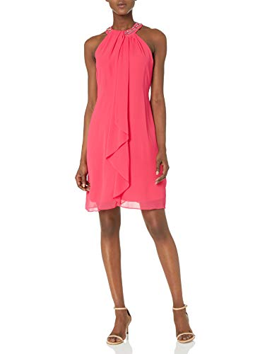 S.L. Fashions Women's Jewel Neck Sheath Dress, Cerise, 16