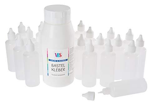 VBS Großhandelspackung Bastelkleber 795g inkl. 20 Leerflaschen transparent Klebstoff