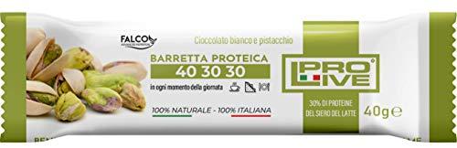 PROLIVE 40 30 30 BIANCO E PISTACCHIO – Barrette Proteiche a zona 40 30 30, Senza Zuccheri Aggiunti, Croccante, Puro Cioccolato Bianco, 30% Proteine Del Siero del Latte (Whey Protein)(12x40g)
